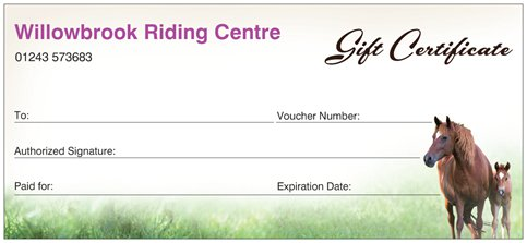 Gift voucher for horse riding lessons and hacking at WIllowbrook Riding Centre